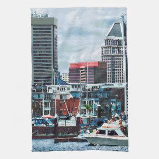 Baltimore MD - Baltimore Skyline at Charles River Kitchen Towel