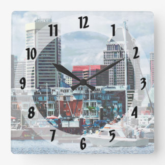 Baltimore MD - Baltimore Skyline at Charles River Square Wall Clock