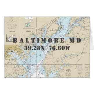 Baltimore MD Chesapeake Nautical Navigation Chart Card