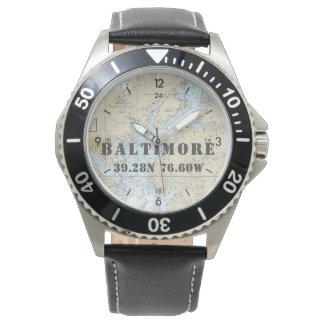 Baltimore MD Latitude Longitude Boater's Nautical Wrist Watches