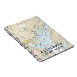 Baltimore MD Latitude Longitude Nautical Chart Spiral Notebook