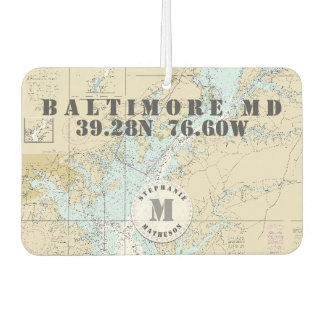 Baltimore MD Nautical Chart Monogram Boating Car Air Freshener
