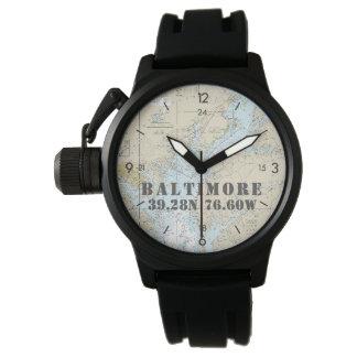 Baltimore MD Nautical Latitude Longitude Boater's Wristwatch