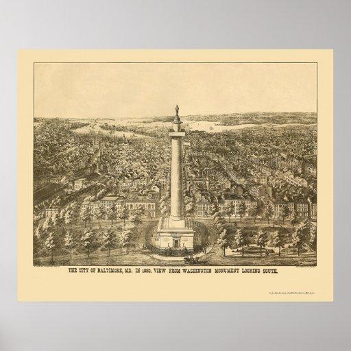 Baltimore, MD Panoramic Map - 1880 Poster