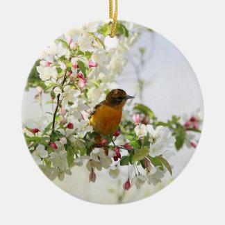 Baltimore Oriole and spring blossoms Ceramic Ornament
