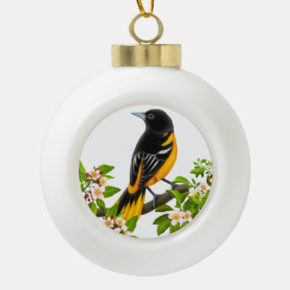 Baltimore Oriole Bird in Apple Blossoms Ornament
