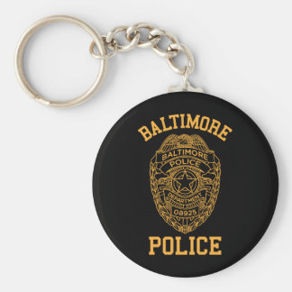 baltimore police maryland detective basic round button keychain