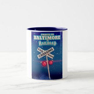 Baltimore Railroad crossing travel poster. Two-Tone Coffee Mug