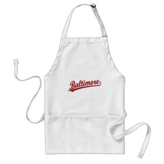Baltimore script logo in red standard apron