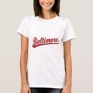 Baltimore script logo in red T-Shirt