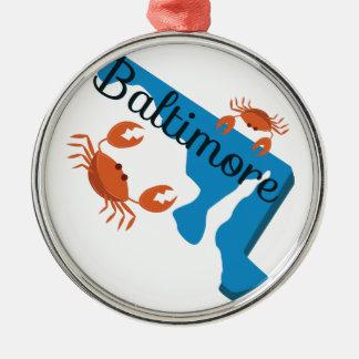 Baltimore Silver-Colored Round Ornament