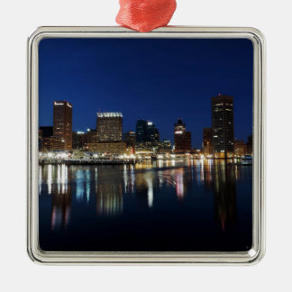 Baltimore Skyline at Dusk Metal Ornament