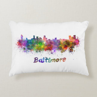Baltimore skyline in watercolor accent pillow