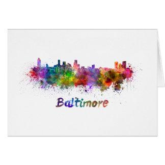 Baltimore skyline in watercolor card