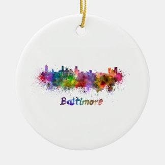 Baltimore skyline in watercolor ceramic ornament