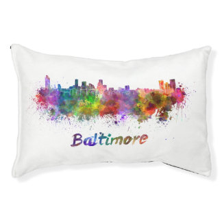 Baltimore skyline in watercolor pet bed