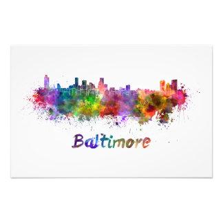 Baltimore skyline in watercolor photo print