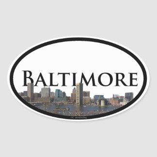 Baltimore Skyline with Baltimore in the Sky Oval Sticker