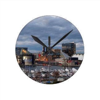 Baltimore Sundown Skyline Round Clock
