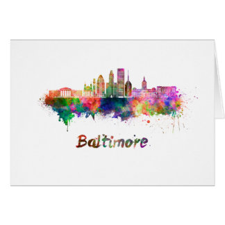 Baltimore V2 skyline in watercolor Card