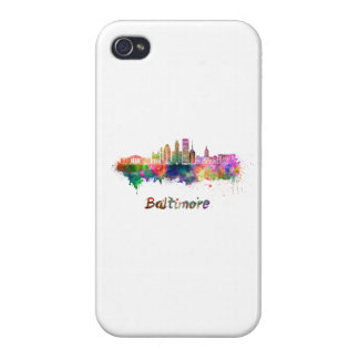Baltimore V2 skyline in watercolor Case For iPhone 4