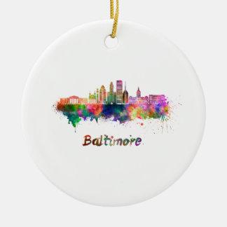 Baltimore V2 skyline in watercolor Ceramic Ornament