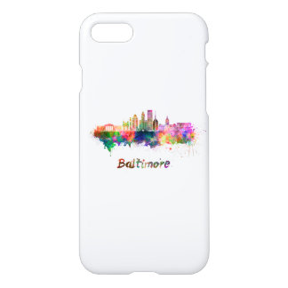 Baltimore V2 skyline in watercolor iPhone 8/7 Case