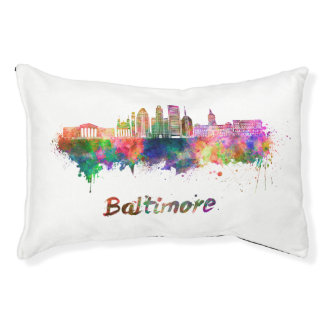 Baltimore V2 skyline in watercolor Pet Bed