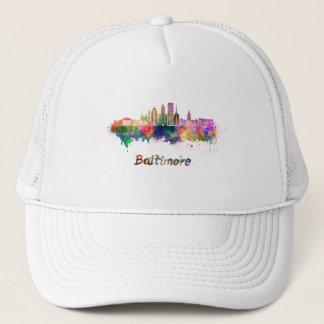 Baltimore V2 skyline in watercolor Trucker Hat