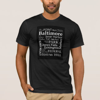 Baltimore Word Art T-Shirt in Black