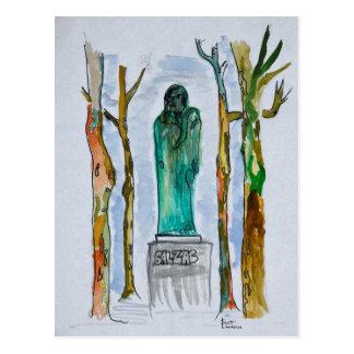 Balzac Statue by Rodin   Paris, France Postcard