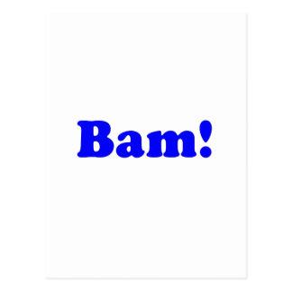 Bam! black and blue postcard