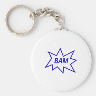 Bam Blue Basic Round Button Keychain
