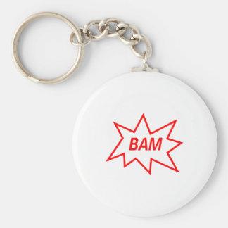 Bam Red Basic Round Button Keychain