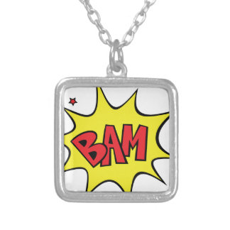 bam silver plated necklace