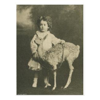 bambi and child postcard