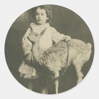 bambi and child round sticker