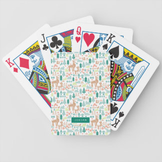 Bambi and Woodland Friends Pattern | Add Your Name Bicycle Playing Cards