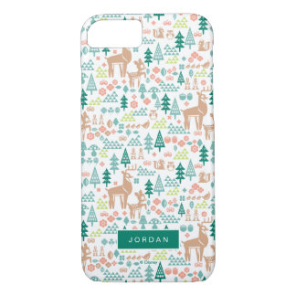 Bambi and Woodland Friends Pattern | Add Your Name iPhone 8/7 Case