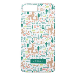 Bambi and Woodland Friends Pattern | Add Your Name iPhone 8 Plus/7 Plus Case