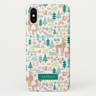 Bambi and Woodland Friends Pattern | Add Your Name iPhone X Case