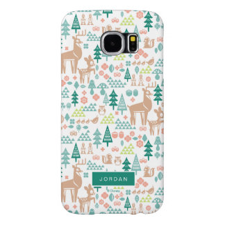 Bambi and Woodland Friends Pattern | Add Your Name Samsung Galaxy S6 Cases