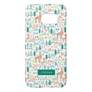 Bambi and Woodland Friends Pattern | Add Your Name Samsung Galaxy S7 Case
