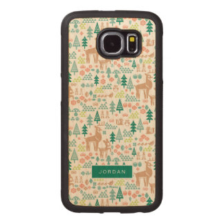 Bambi and Woodland Friends Pattern | Add Your Name Wood Phone Case