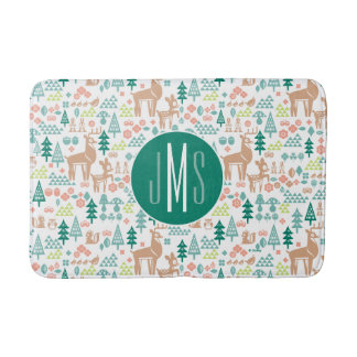 Bambi and Woodland Friends Pattern | Monogram Bath Mat