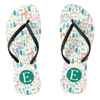 Bambi and Woodland Friends Pattern | Monogram Flip Flops