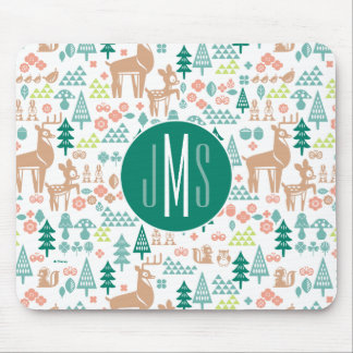 Bambi and Woodland Friends Pattern | Monogram Mouse Pad