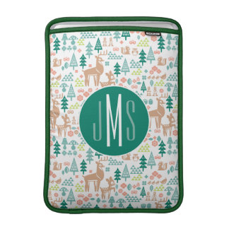 Bambi and Woodland Friends Pattern | Monogram Sleeve For MacBook Air