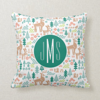 Bambi and Woodland Friends Pattern | Monogram Throw Pillow