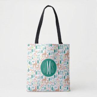 Bambi and Woodland Friends Pattern | Monogram Tote Bag